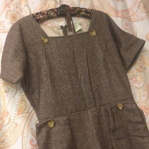 Sparkly Sophistication Brown Tweed Dress